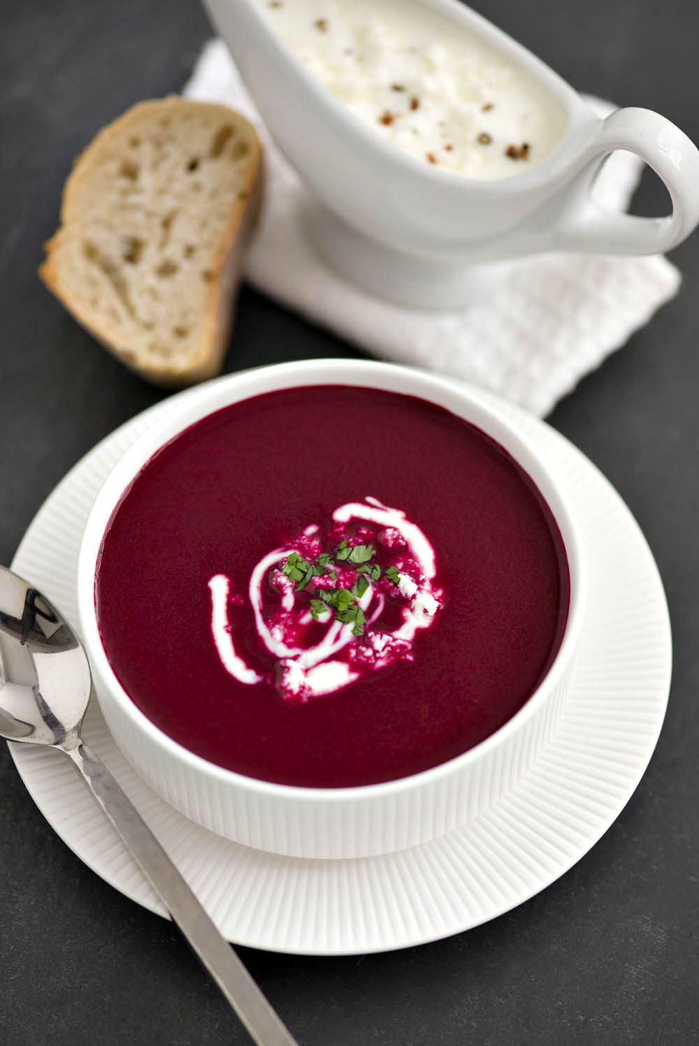 Roasted Beetroot Soup With Feta Yogurt Dressing