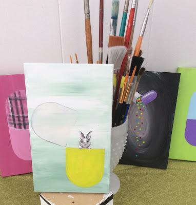 Pill Painting Bunny, Stefanie Lynn Girard, Pill art, Drug art, pharmacy art, pop art, modern art