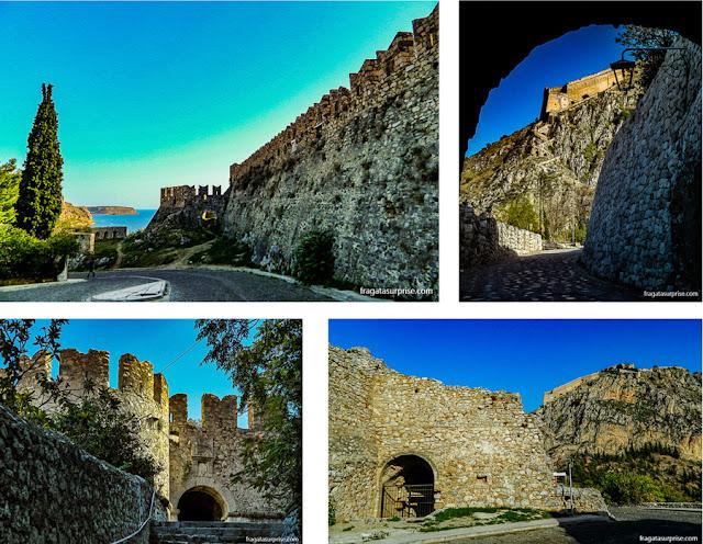 Muralhas, portões e bastiões da Fortaleza da Acronafplia, em Nafplio, Grecia