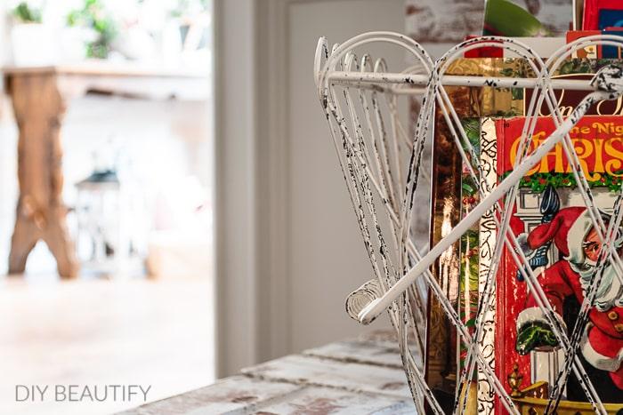 vintage basket with Christmas books
