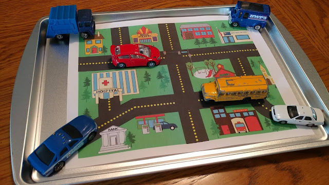 Printed scene with toy cars