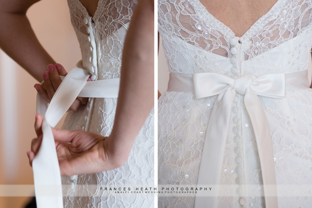 Bride tying dress sash