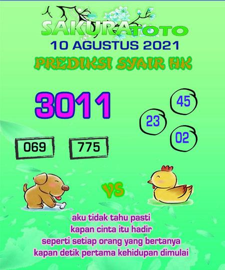 Syair HK Selasa 10 Agustus 2021 -