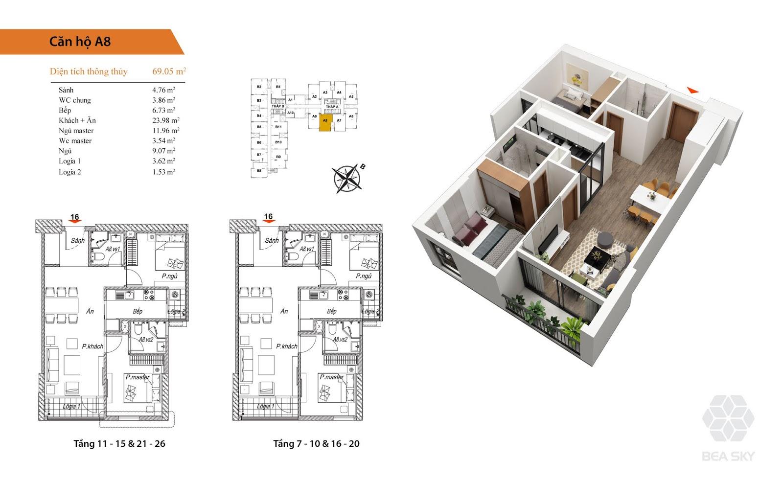 Thiết kế căn A8 chung cư Bea sky Nguyễn xiển