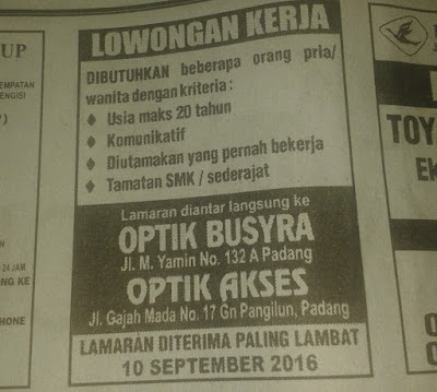 Lowongan Kerja di Padang – Optik Busyra & Optik Askes (Penutupan 10 Sept.2016)