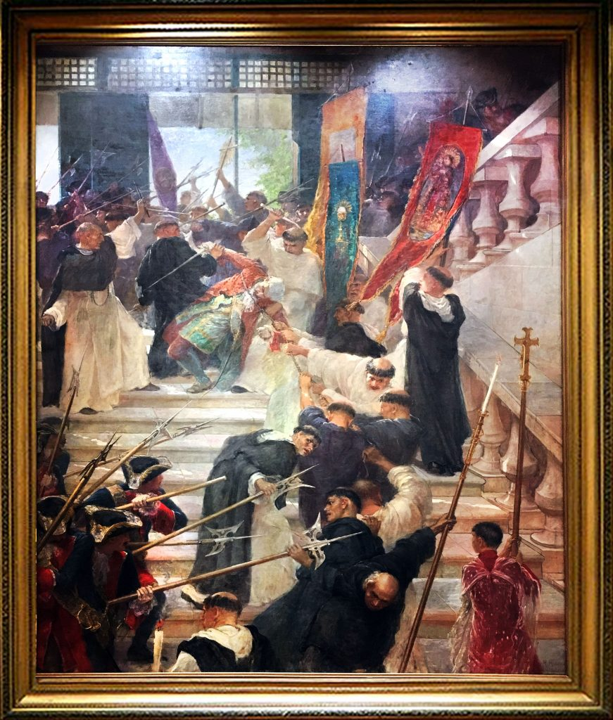 F.R.Hidalgo's painting of the assassination of Governor-General Bustamante in 1719