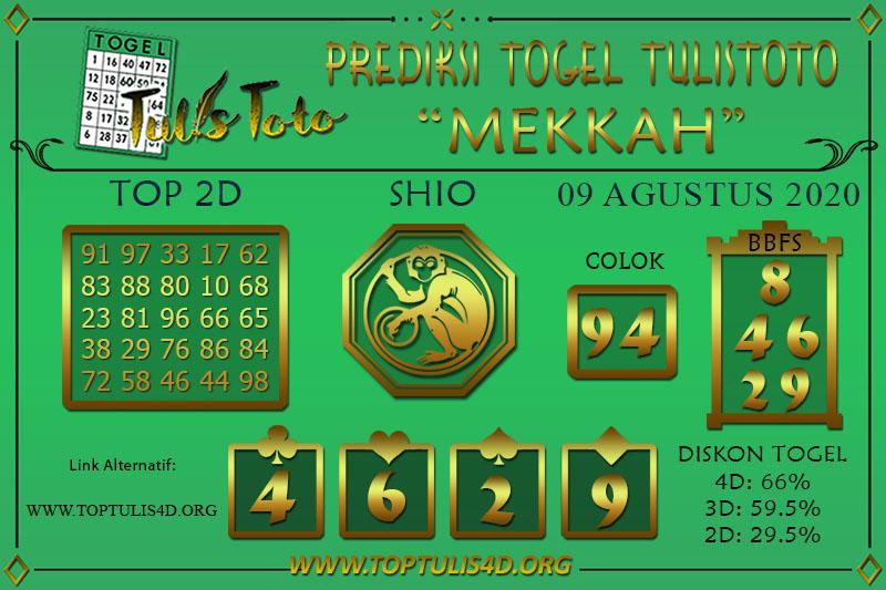 Prediksi Togel MEKKAH TULISTOTO 09 AGUSTUS 2020
