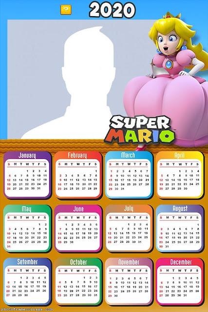 Super Mario Bros: Calendario 2020 para Imprimir Gratis