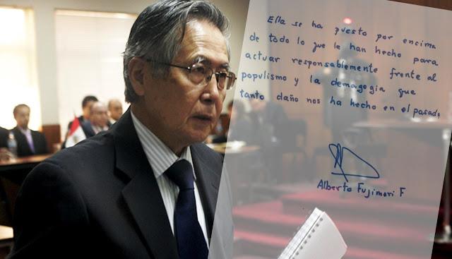 Alberto Fujimori respalda decisiones políticas de Keiko