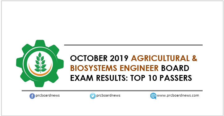 RESULT: October 2019 Agricultural and Biosystems Engineer board exam top 10 passers