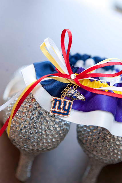 New York Giants vs Baltimore Ravens House Divided Wedding Garter by Sugarplum Garters