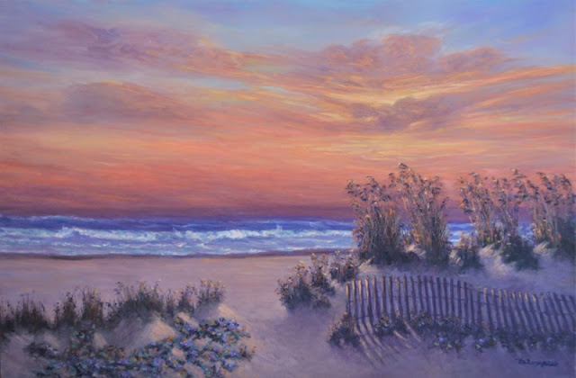 Painting of a Beach with a Colorful Sunset, Oats and Dunes