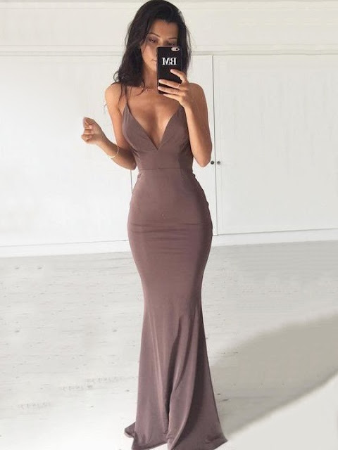 Hot Trumpet/Mermaid V-neck Jersey with Ruffles Sweep Train Backless Formal Dresses