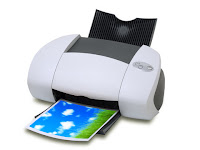 color printer printing grass and blue sky