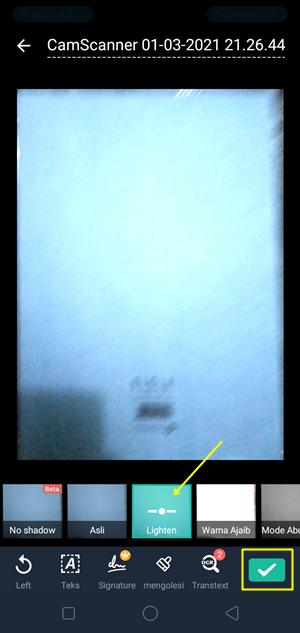 terapkan efek lighten kemudian klik tanda centang (ceklist)