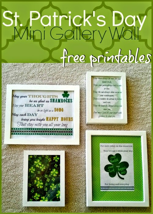 Make a Mini Gallery Wall for St. Patrick's Day using printables, fabric remnants, and scrapbook paper. Get 3 free printable Irish Blessings here: