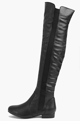 Boohoo black over the knee flat boots