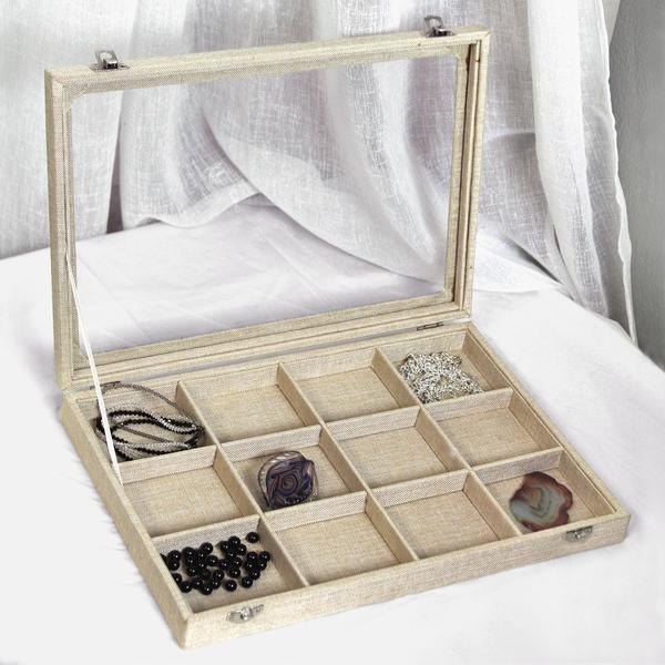 The Burlap Linen Metal Clip Jewelry Display Case with Glass Top Lid is perfect for traveling with jewelry