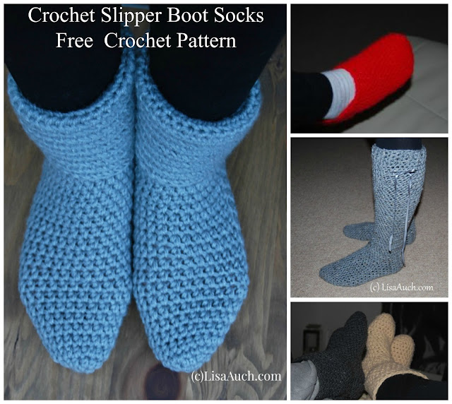 Easy Free Crochet Slipper Boot Pattern men and women