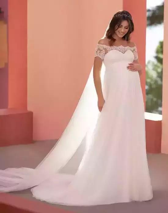 Robes de mariée en tulle pour femmes enceintes - white one