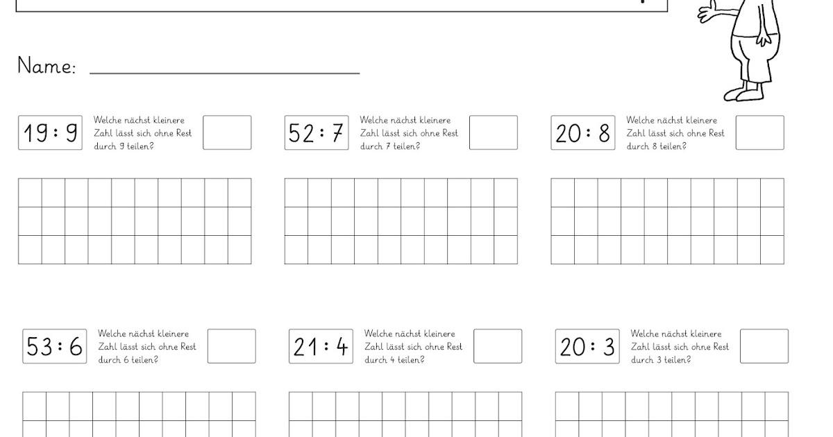 Lernstübchen: Arbeitsblätter zum Teilen mit Rest (3)