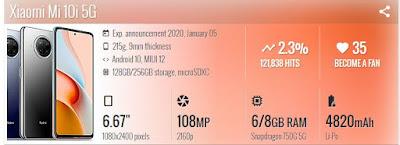 تسريبات جديدة لمواصفات هاتف شاومي مي 10 اي Xiaomi Mi 10i
