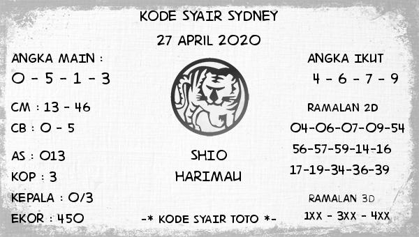 Prediksi Togel Sidney 27 April 2020 - Kode Syair Sydney