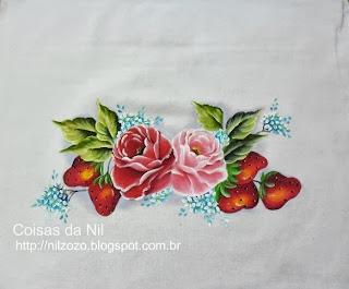 pintura de morangos e rosas