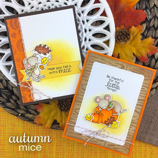 Fall Mouse Cards by Jennifer Jackson | Autumn Mice Stamp Set by Newton's Nook Designs #newtonsnook #handmade