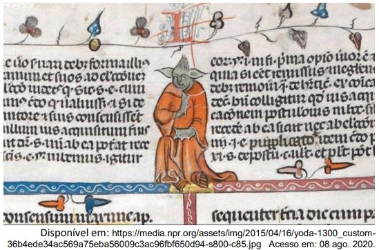 A figura da imagem ilustra a página de um manuscrito medieval do séc. XIV, atualmente na British Library, e possui semelhança com o personagem Mestre Yoda, da série Star Wars.