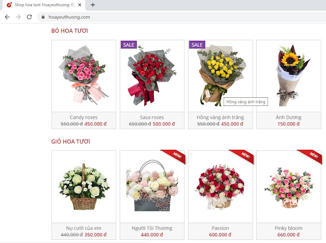 Bước 1 đặt điện hoa Hoa Yêu Thương