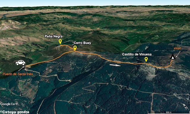 Mapa de la ruta a la Sierra de Cebollera desde el Puerto de Santa Inés