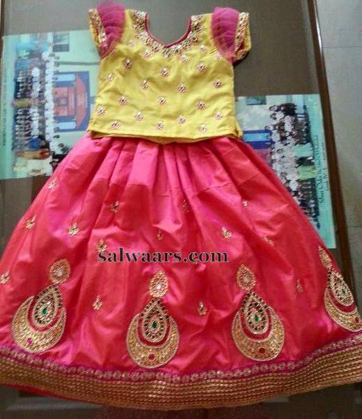 Bright Peach Lehenga for Kids