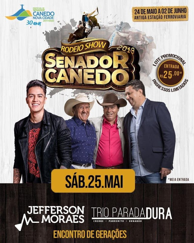 Senador Canedo: Jefferson Moraes e Trio Parada Dura são as atrações principais do 2º dia de Rodeio Show