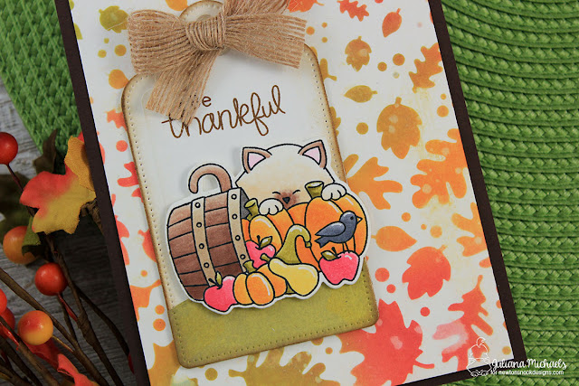 Detail photo of Be Thankful Card by Juliana Michaels featuring Falling Leaves Stencil and Autumn Newton Stamp Set by Newton's Nook Designs