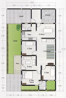 Contoh Denah Rumah Minimalis 3 Kamar Dengan Garasi Mobil