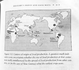 Page 99. Figure 5.1. Centers of origin of food production. A question mark indicates some uncertainty whether the rise of food production at that center was really uninfluenced by the spread of food production from other centers, or (in the case of New Guinea) what the earliest crops were.