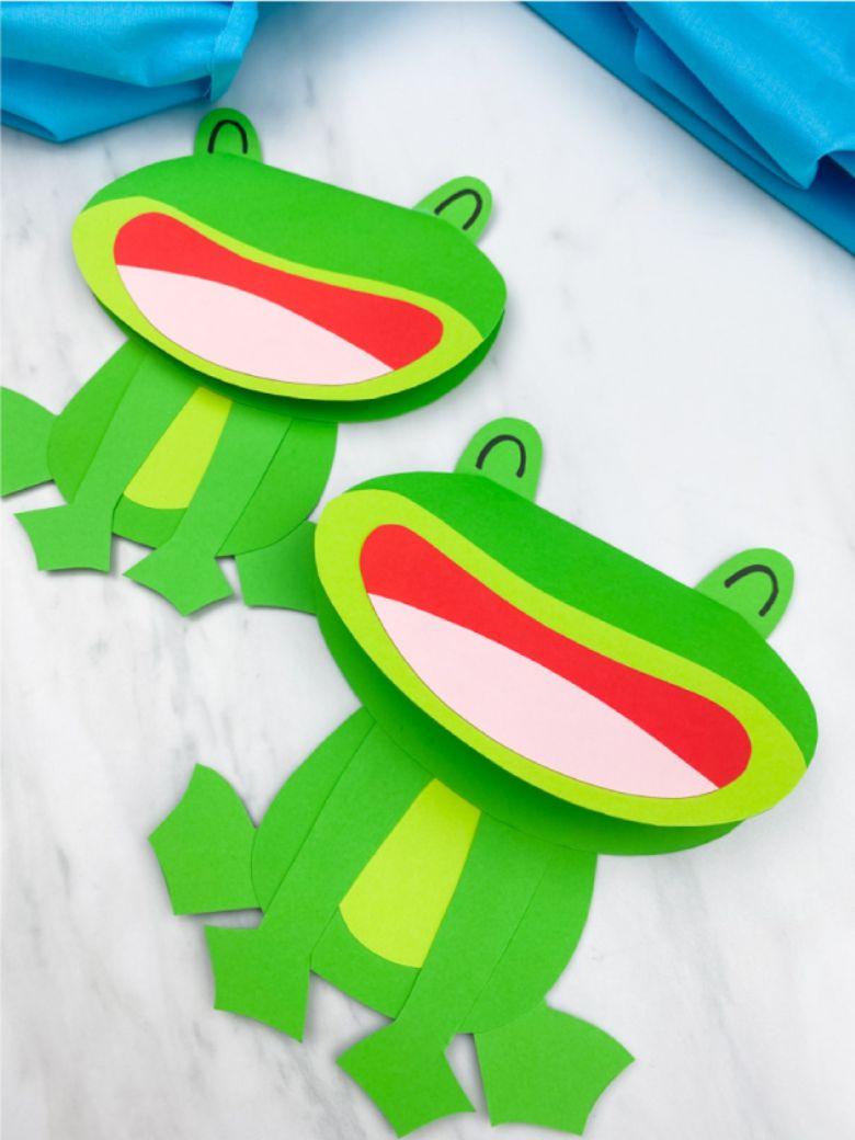 Spring crafts for kids - paper frog craft