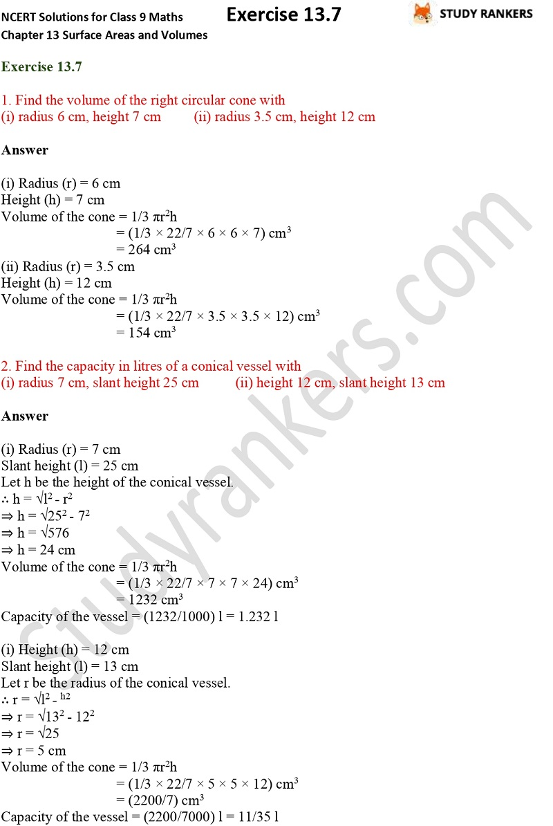 NCERT Solutions for Class 9 Maths Chapter 13 Surface Areas and Volumes Exercise 13.7 Part 1