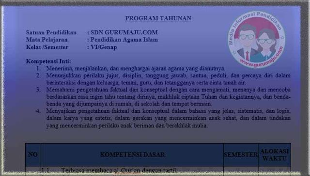 Download Prota PAI Kelas 6 Semester 2 SD K13 Revisi 2021