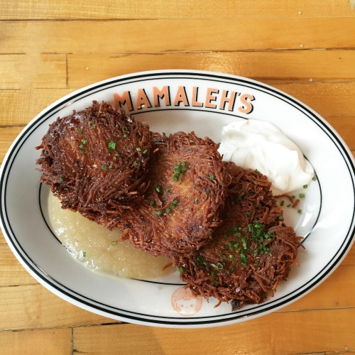 Mamaleh's Cambridge Jewish deli potato latkes