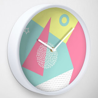 80s Geometric Memphis Pattern Wall Clock