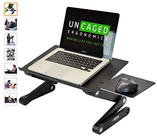 WorkEZ Best Adjustable Laptop Cooling Stand & Lap Desk for Bed Couch w/Mouse Pad