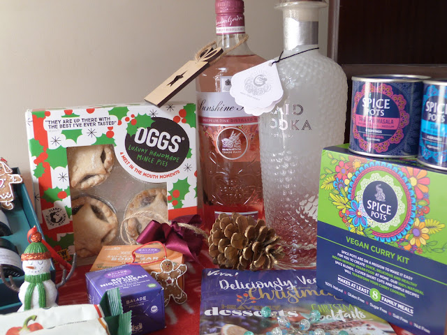 Vegan Food and Drink Products on a red ho ho ho