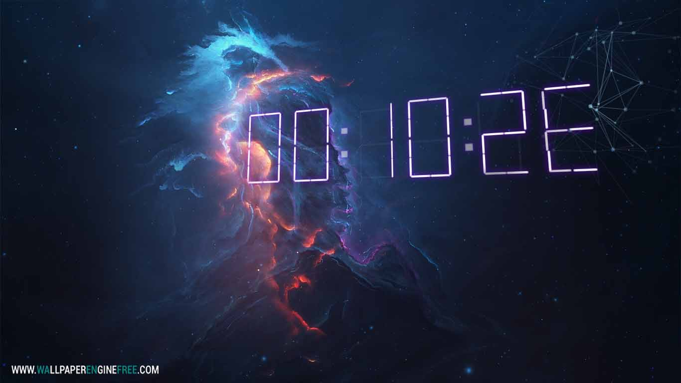 Atlantis Fire + 3D Digital Clock Wallpaper Engine ...