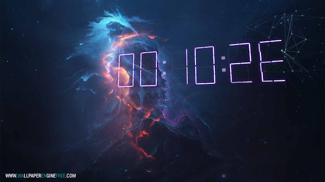 Atlantis Fire + 3D Digital Clock Wallpaper Engine