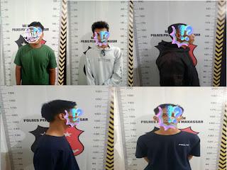 Satreskrim Polres Pelabuhan Makassar Tangkap 5 orang Komplotan Pencuri Handphone di Pulau Barrang Lompo
