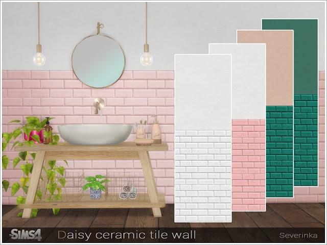 Стены с плиточным покрытием  для The Sims 4 со ссылками на скачивание