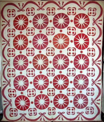 Red & White Compass - Trapunto Mid-1800's