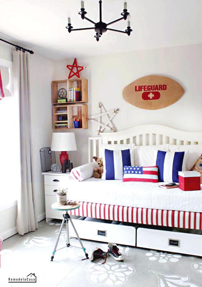 Guest room patriotic bedroom